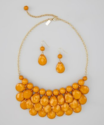 Mustard Yellow Water Drop Necklace & Earrings