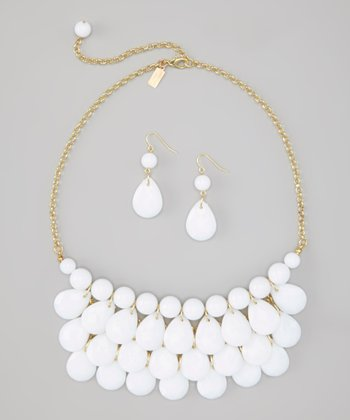 White Water Drop Necklace & Earrings