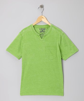 Lime Simpatico Knotch V-Neck Tee