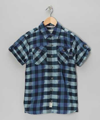 Indigo Willie Ikat Plaid Button-Up