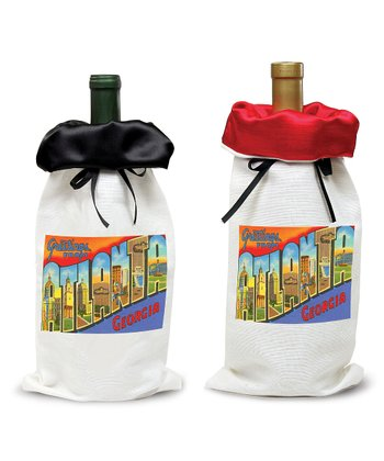 Silk Top 'Greetings From' Wine Bag Set
