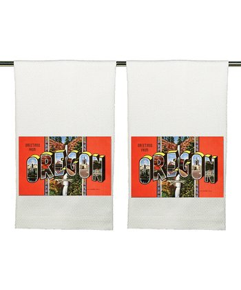 'Greetings From' Kitchen Towel - Set of Two