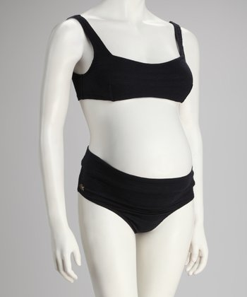 3d46991a6f Ilant Maternity Swimwear Black Jacquard High-Waisted Maternity Bikini -  Women