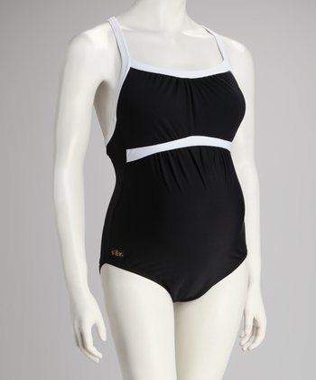 3a793d1c81 Ilant Maternity Swimwear Black & White Gathered Racerback Maternity  One-Piece - Women
