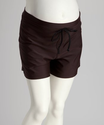 Chocolate High-Waisted Maternity Boardshorts - Women & Plus