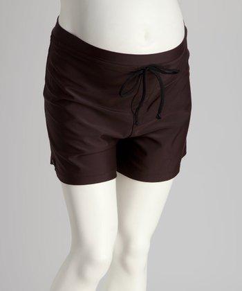 836669d7ab Ilant Maternity Swimwear Chocolate High-Waisted Maternity Boardshorts -  Women & Plus
