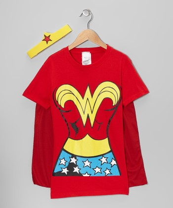 Red Wonder Woman Caped Tee & Mask - Girls
