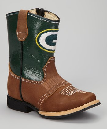 Green Bay Packers Quarterback Roper Cowboy Boot - Kids