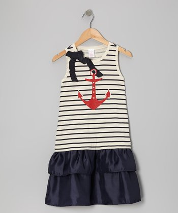 Navy Stripe Anchor Ribbon Dress - Toddler & Girls
