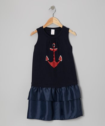 Navy Anchor Drop-Waist Dress - Toddler & Girls