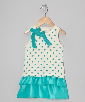 Teal Green Polka Dot Dress - Toddler & Girls