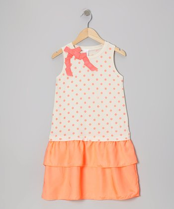 Orange Polka Dot Ribbon Dress - Toddler & Girls