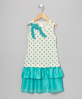 Turquoise Rhinestone Polka Dot Ribbon Dress - Toddler & Girls