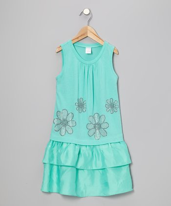 Turquoise Rhinestone Flower Dress - Toddler & Girls