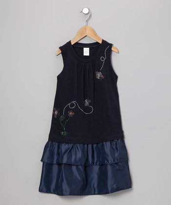 Navy Aloha Rhinestone Flower Dress - Toddler & Girls