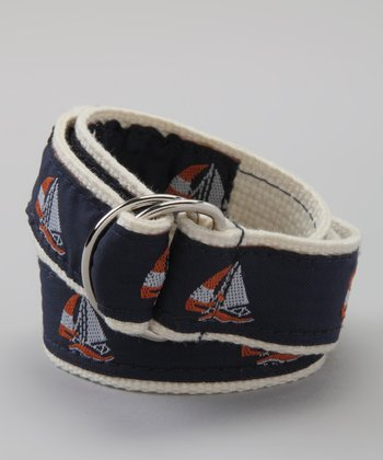 Navy & Orange Sailboat Belt