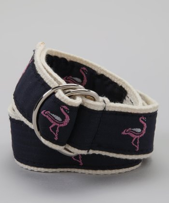 Navy & Pink Flamingo Belt