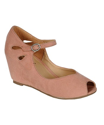 Blush Brazil Peep-Toe Wedge