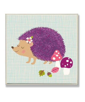 Hedgehog & Mushroom Square Wall Plaque
