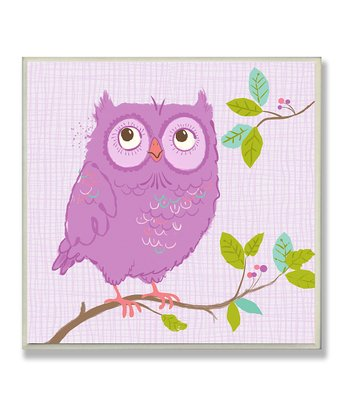 Purple Woodland Owl Wall Plaque