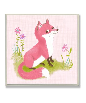 Smiling Pink Fox Wall Plaque