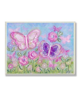 Pastel Butterflies in Garden Wall Plaque