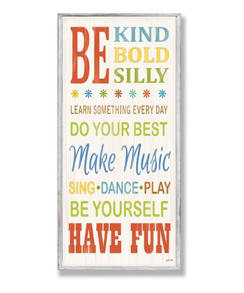 Be Kind & Silly Typography Wall Plaque