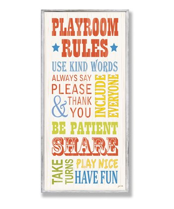 Red 'Playroom Rules' Typography Wall Plaque