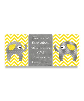Yellow Elephants Love Trio Wall Plaque Set