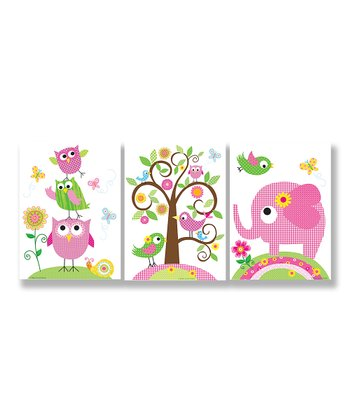 Owls, Elephants & Birds Wall Plaque Set