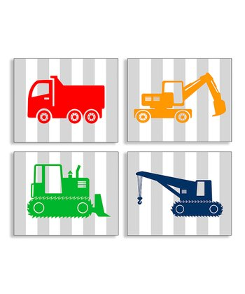 Construction Vehicle Wall Plaque Set