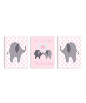 'We Love You' Elephant Wall Plaque Set
