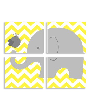 Elephant and Birdie Wall Plaque Set