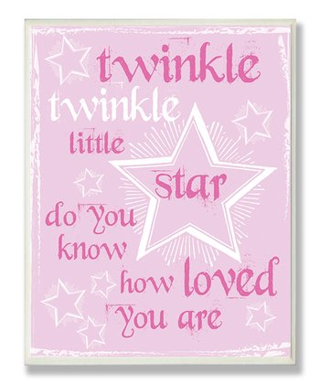 Pink Twinkle Twinkle Star Wall Plaque