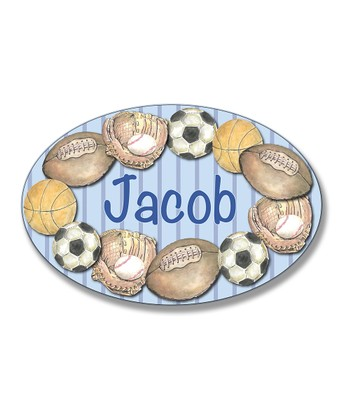 Blue Stripe Multi-Sport Personalized Oval Wall Plaque