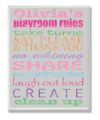Pink & Gray Playroom Rules Personalized Typography Wall Plaque