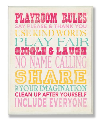Pink 'Playroom Rules' Typography Wall Plaque