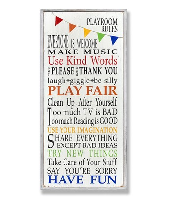 Rainbow Playroom Rules Wall Plaque
