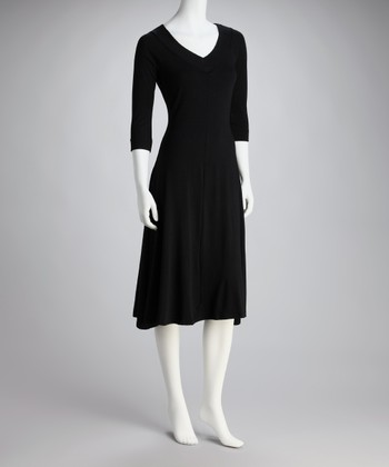 Black V-Neck Dress - Women