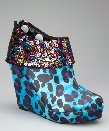 Turquoise Treasure Box Wedge Bootie