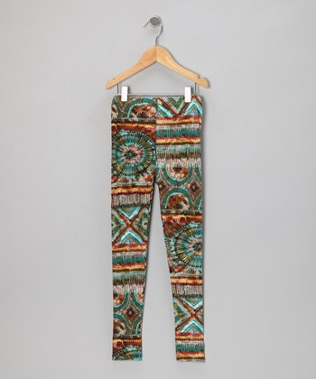 Olive & Aqua Abstract Leggings