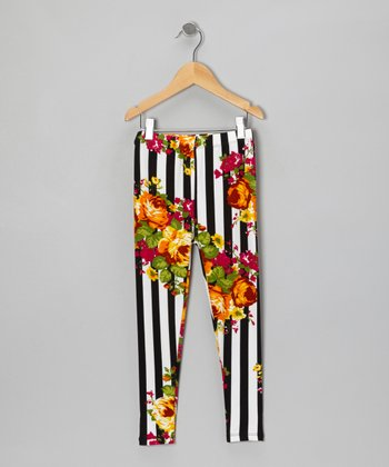 Black & Orange Floral Stripe Leggings