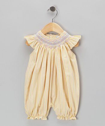 Yellow Stripe Smocked Bubble Romper - Infant