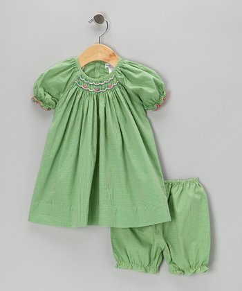 Green Gingham Bishop Dress & Bloomers - Infant