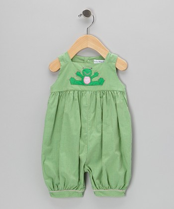 Green Gingham Frog Bubble Romper - Infant