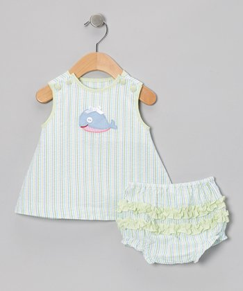 Green Whale Seersucker Dress & Diaper Cover - Infant
