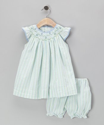 Green Floral Seersucker Smocked Dress & Bloomers - Infant