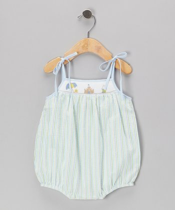Green Beach Seersucker Smocked Bubble Bodysuit - Infant