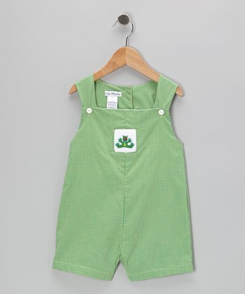 Green Frog Smocked Gingham Shortalls - Infant