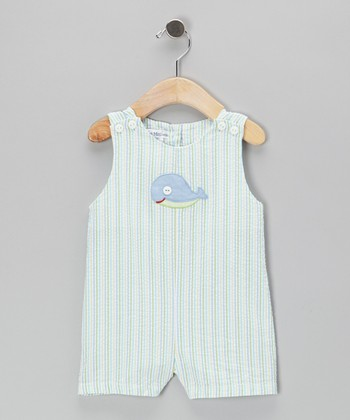 Green Whale Seersucker Shortalls - Toddler